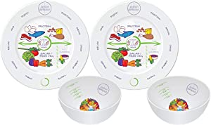 Bariatric Surgery Bowl + 8 Inch Plate Set In Porcelain (2 Measuring Bowls & Plates) By Portion Plate Perfection Dietitian Helps Avoid Weight Regain After Gastric Bypass, Sleeve Gastrectomy Or Lapband