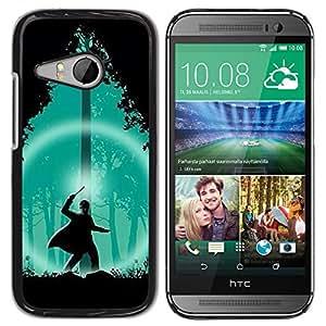TopCaseStore / la caja del caucho duro de la cubierta de protección de la piel - Green Wizard Forest Night Silhouette - HTC ONE MINI 2 / M8 MINI