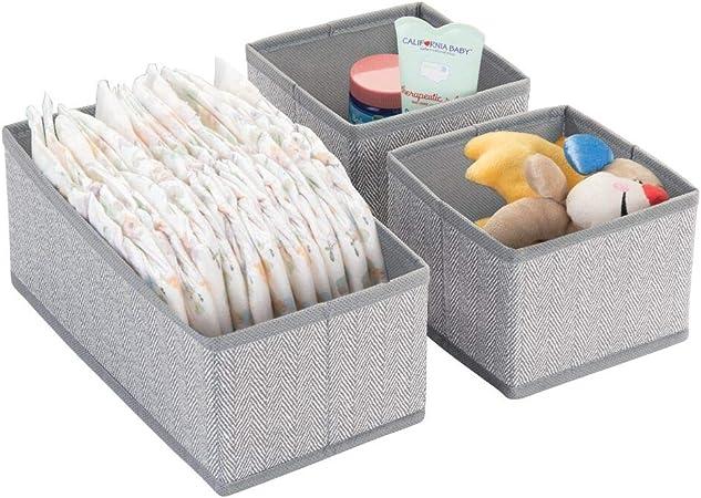 mDesign Juego de 3 Cajas para almacenar Ropa, Cosas para niños y más – Organizadores de cajones Infantiles de Tela – Cestas organizadoras para armarios Infantiles – Gris: Amazon.es: Hogar