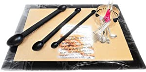 Best Baking Bundle for Cookies & Treats,with Extra Long Measuring Spoons, Non-Stick Silicone Baking Mat, Scalloped Cookie Cutter, Recipe Card (4 items)