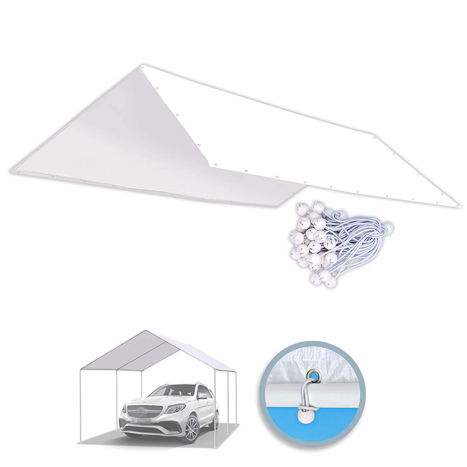 BenefitUSA 10'x20' Carport Replacement Canopy Garage Top Tarp Shelter Cover w Ball Bungees (Cover Only) (with Edge)