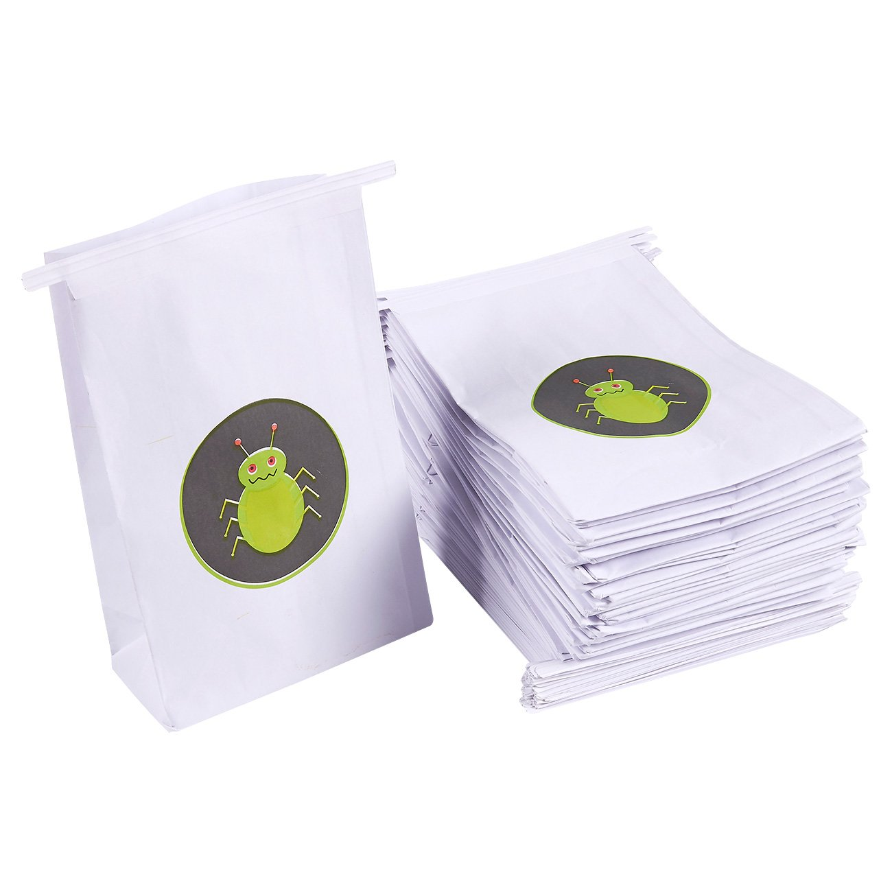 50 Pack Vomit Bags - Kids' Bug Illustration Disposable Self-Sealing Leak Resistant Throw Up Bags for Motion Sickness, Morning Sickness, Lyft, Car, Airline Travel, Barf Bag White, 6 x 9 x 2.7 Inches