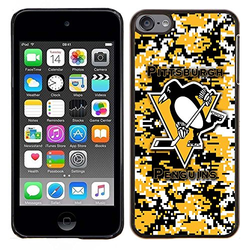 iPod Touch 5 Case, iPod Touch 6 Cases, Penguins Hockey Team logo 79 Drop Protection Never Fade Anti Slip Scratchproof Black Hard Plastic Case