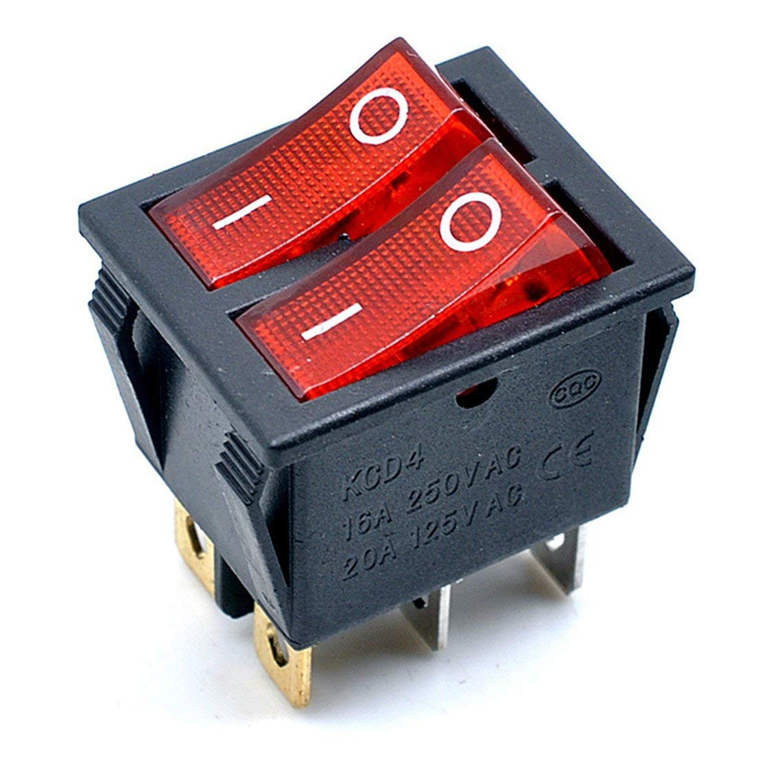 Interruptor basculante para Barco Willwin Red Light Red Light 5 Piezas, KCD4 AC 250 V, 16 A, luz roja, 6 terminales, Encendido//Apagado, Doble SPST 2 V/ías