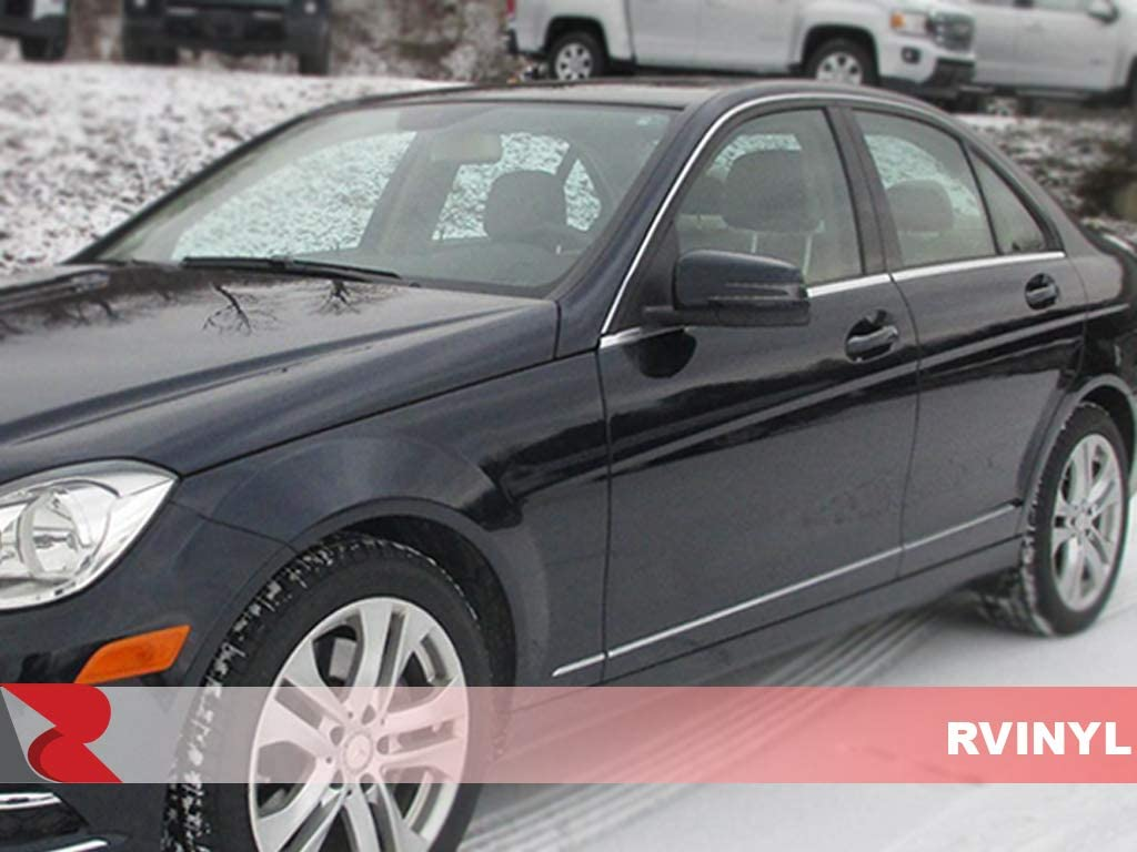 Brushed Black - Aluminum Sedan Rvinyl Rtrim Pillar Post Decal Trim for Mercedes-Benz C-Class 2008-2014