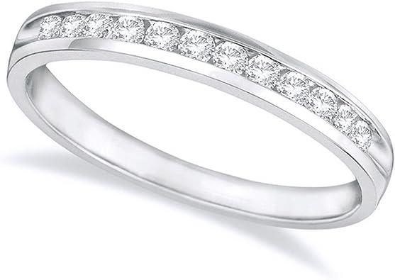 14K White Gold Round Diamond Ladies Eternity Wedding Anniversary Stackable Ring Band Premium Collection 2 Carat ctw