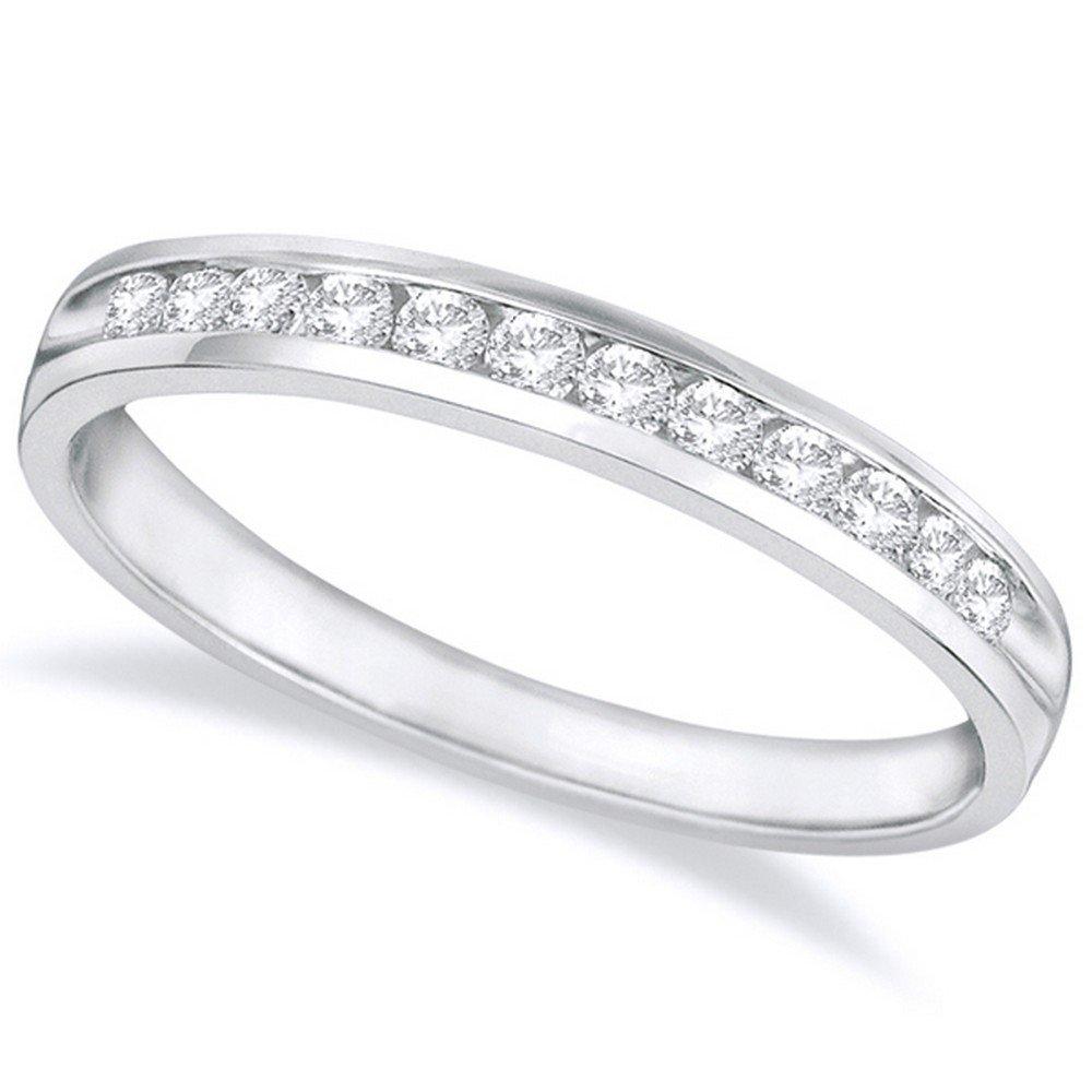 1/2 Carat (ctw) 14K White Gold Round Diamond Ladies Channel Set Half-Way Semi-Eternity Wedding Anniversary Stackable Ring Band Premium Collection by Houston Diamond District