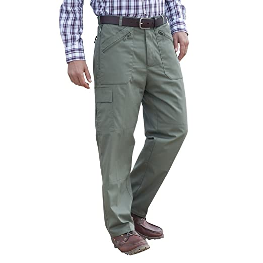 96a964453a CLIFFORD JAMES Mens Fully Thermal Lined Warm Action Cargo Working or  Walking Trousers with Stretch Elasticated Expanding Waist in Navy and Olive  Green.