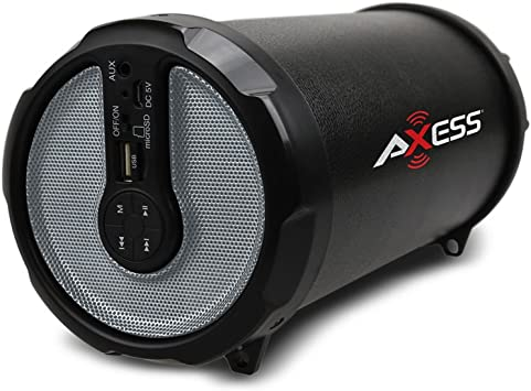 "AXESS SPBT1041 3/"" Rechargeable Cylinder Speaker Bluetooth USB//SD//AUX FM Radio"