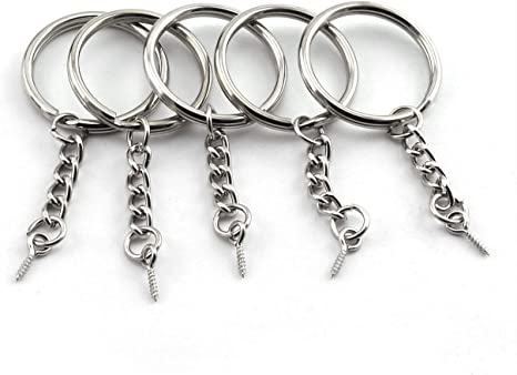 Silver 25 Pcs Key Rings Split Rings 30 mm Diameter Split Key Ring with Chain for Keychain Key and Art Crafts DIY Keyring Blanks with Link Chain