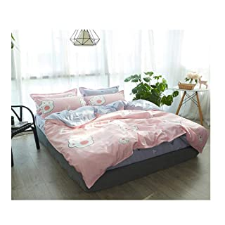 Bedding in The Animal World, Cute and Beautiful Four-Piece, Super Soft Microfiber, with Sheets * 1, Quilt Cover * 1, Pillowcase * 2, Size: Bed 1.8m, Bed 2.0m, Color: Beige, Blue, Gray, Green, Pink jinnuotong