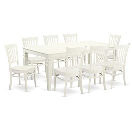 East West Furniture LGGR9 LWH W 9Piece Dinette Set With One Logan Dining  Table
