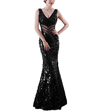 104771c21 Chowsir Women Sexy Elegant Slim Sequin Long Cocktail Party Evening Dress  (Small, 1101Black)