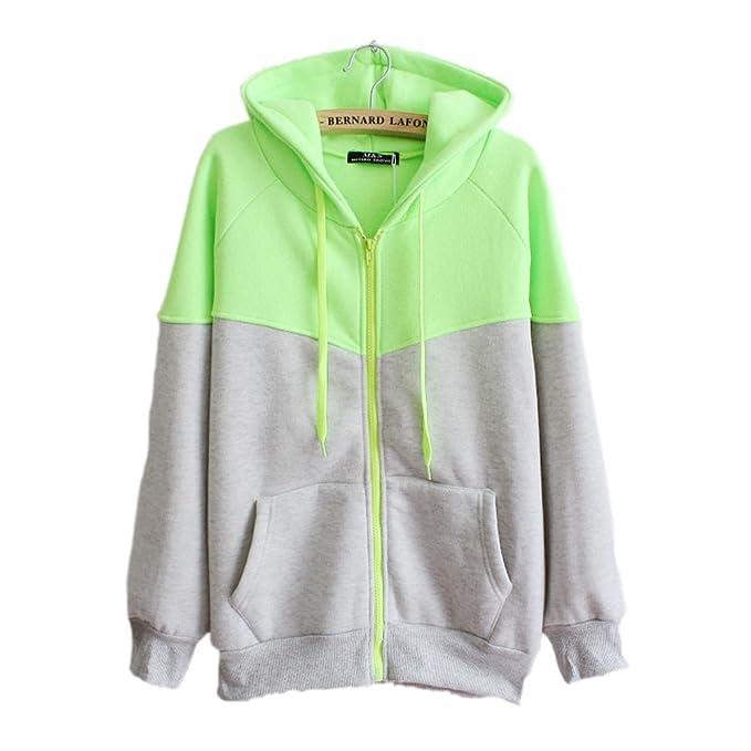Perfectii Sweatjacke mit Zipper   Kapuze, Damen Zip-Hood Fleece-Innenseite  Kapuzenjacke Oversize fc22714c97