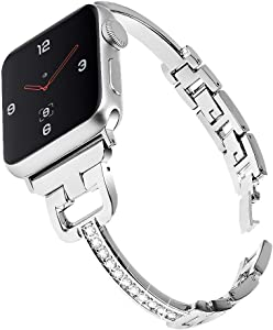 Mtozon Bling Bands Compatible with Apple Watch 40mm/44mm iWatch Series 6/5/4/SE, 38mm/42mm Series 3/2/1, Women Rhinestone Bracelet Metal Wristband, Rose Gold Silver Black