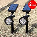 Landscape Light,AGPTEK Solar Wall LED Light Outdoor,Rechargeable Waterproof Solar Powered Spotlight,Fixture Lamp for Garden,Pool Pond Patio,Deck,Yard,Driveway,Stairs,Outside Wall
