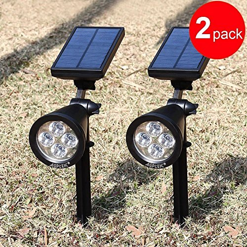 Solar Spotlights,AGPTEK 4-LED Solar Landscape Lights 180 ° Adjustable Waterproof Outdoor Security Lighting Wall Lights Auto On/Off for Yard Garden Driveway Patio Lawn Pool - Chrome 4 Spotlight