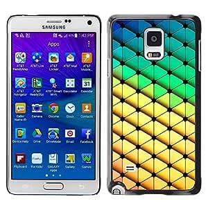 TopCaseStore / la caja del caucho duro de la cubierta de protección de la piel - Diamond Polygon Pattern Yellow Green - Samsung Galaxy Note 4 SM-N910