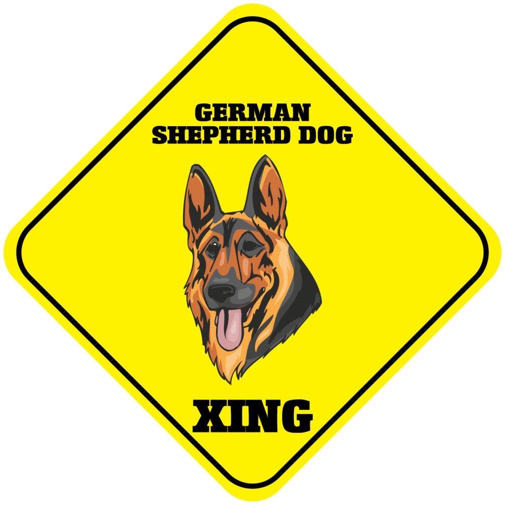 German Shepherd Dog Xing Crossing面白いメタルアルミニウムノベルティSign B01HXIA2JU