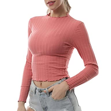 Longra Damen Langarm Shirt Rollkragenshirts T-Shirt Lange Ärmel Bluse Chic  Tops Schlank Hemd Frauen Oberteile Elegant Party Tee Shirt Casual Stricken  ... 30d0dda904