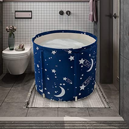 Thickening with Thermal Foam to Keep Temperature KELIXU Portable Bathtub Foldable Soaking Bath Tub for Shower Stall Easy to Install,No inflate,Blue