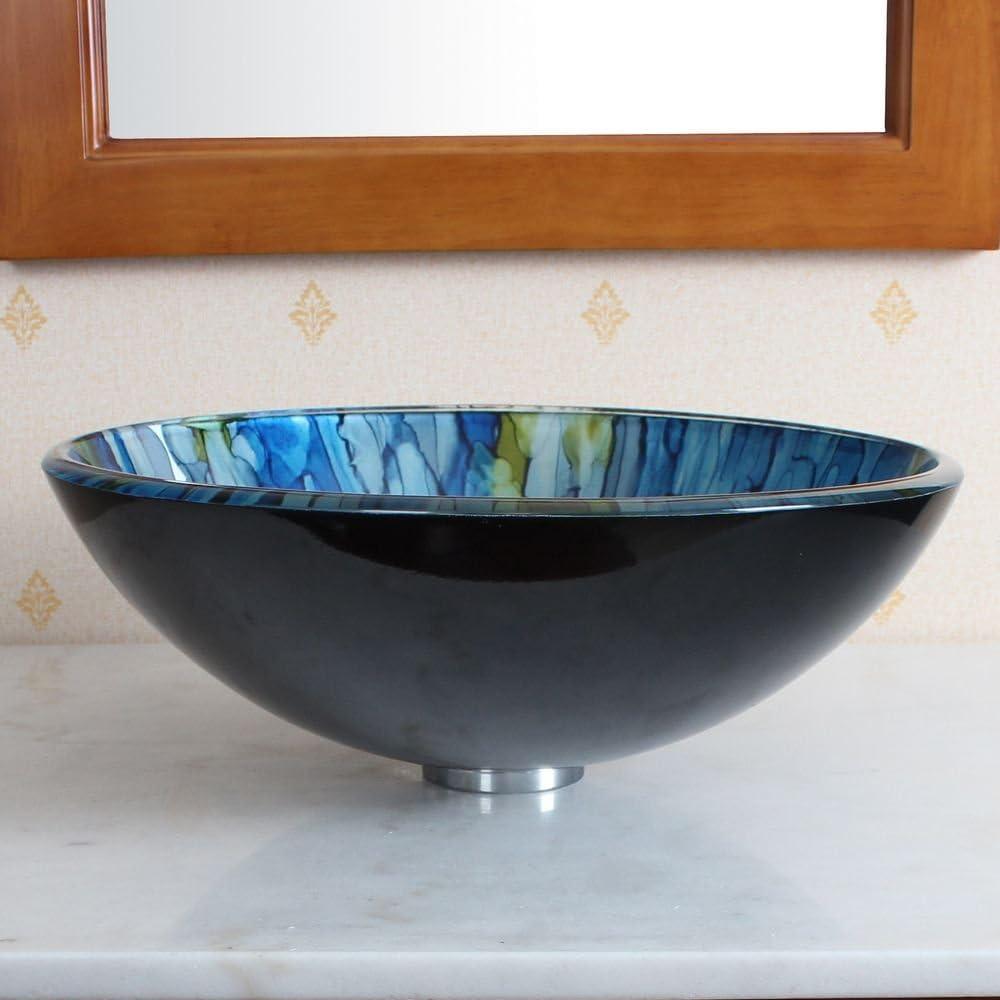 ELITE Bathroom Lt.blue Stripe Glass Vessel Sink Chrome Faucet Combo