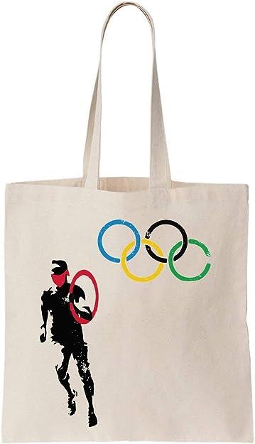 Olympic Rings Banksy Guy Run Algodón Bag Tote Bag: Amazon.es ...