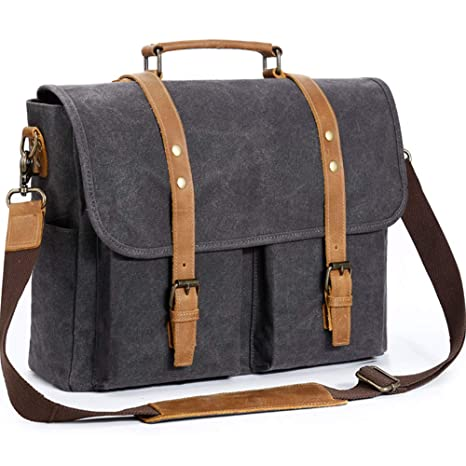 34b0827855 Mens Messenger Bag 15.6 Inch Genuine Leather Canvas Waxed Waterproof Laptop  Bag Large Capacity Satchel Retro