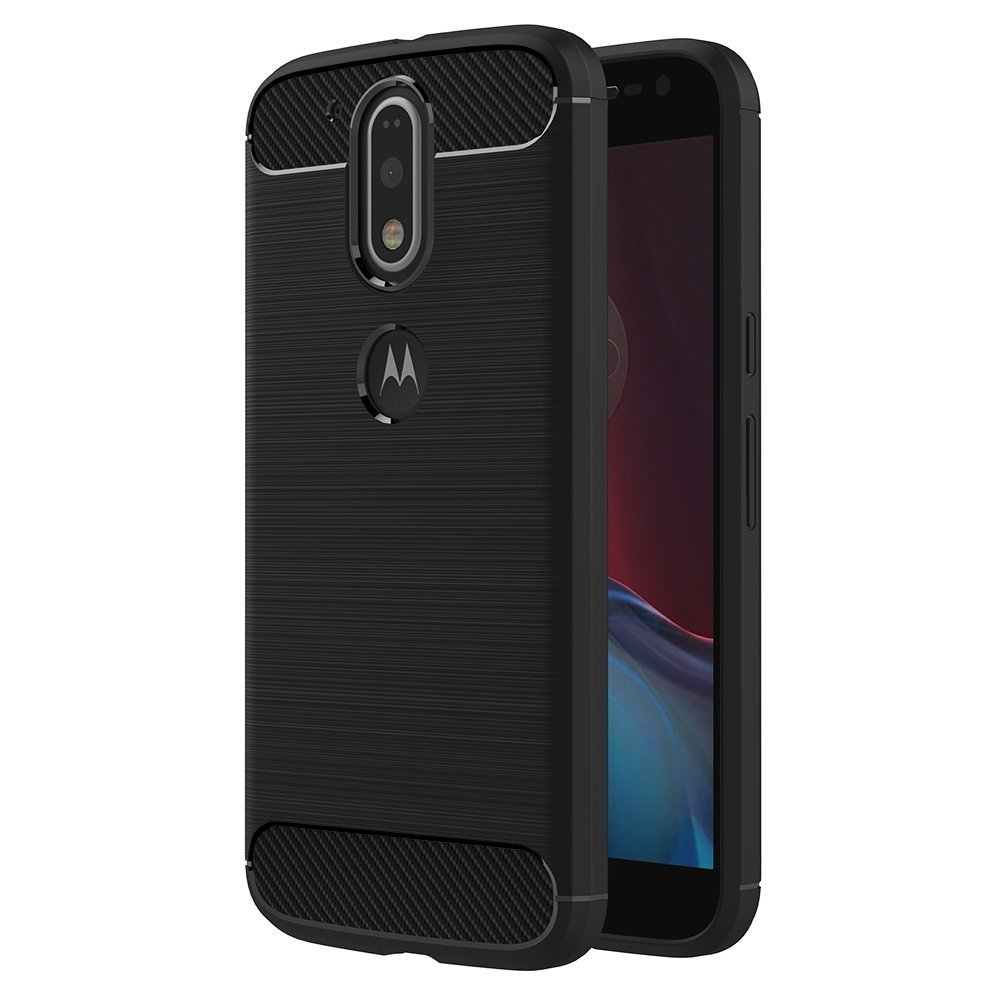 Case for Motorola Moto G4 Play (5 inch) Soft Silicon Luxury Brushed with Texture Carbon Fiber Design Protection Cover (Black) MaiJin
