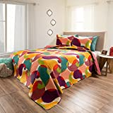 3 Piece Bohemian Embossed Paisley Patterned Quilt Set King Size, Featuring Printed Whimsical Bold Vibrant Paisleys Bedding, Multi Colored Tropical Graphic Art Design, Bright Fashionable Modern Style