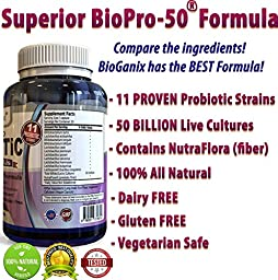 BIOPRO-50 Ultimate Probiotic Supplement with 50 Billion CFUs & 11 Strains Per Capsule – Dr Rated Best for Women & Men – Raw Vegan, Gluten & Dairy Free - Immune & Digestive System Support
