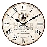 Upuptop 16inch Home Sweet Home Classic Vintage Design Rustic Home Themed Wooden Wall Clock Decorative Living Room For Sale