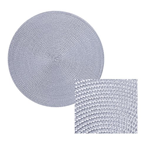 Round Placemats Furnily Round Braided & Woven, Indoor/Outdoor Placemat,15 Inches Round Table Mats,Set of 6 (Grey) by Furnily (Image #4)'