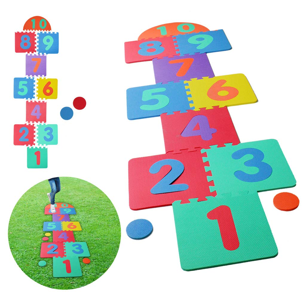 Hopscotch Playmat Foam Interlocking Puzzle Floor Mat - 10 Large Number Tiles (12'' by 12'' Square Blocks) by Liberty Imports