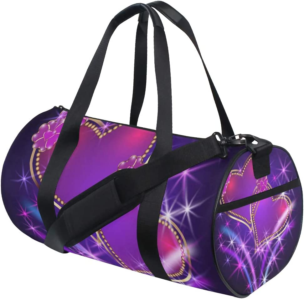 AHOMY Sports Gym Bag Purple Love Heart Duffel Bag Travel Shoulder Bag