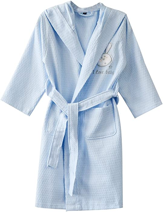 502fa30b1c KISBINI Kids Bathrobe Pure Cotton Long Hooded Bath Robes for Children Blue  2-3T