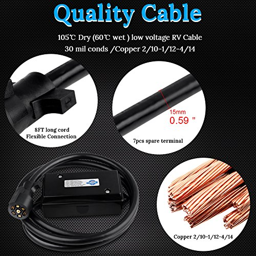 WATERWICH 7 Way Trailer Plug Cord 8 Feet Harness Inline Copper Blade Wire Connector Weatherproof for RV Tow Truck Commercial Vehicle Jiande Everdevelop electric appliance co ltd 8 Feet Without Junction Box