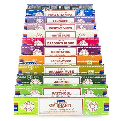 Satya Nag Champa Om Shanti Incense set C 12x15gram includes: Nag Champa,...