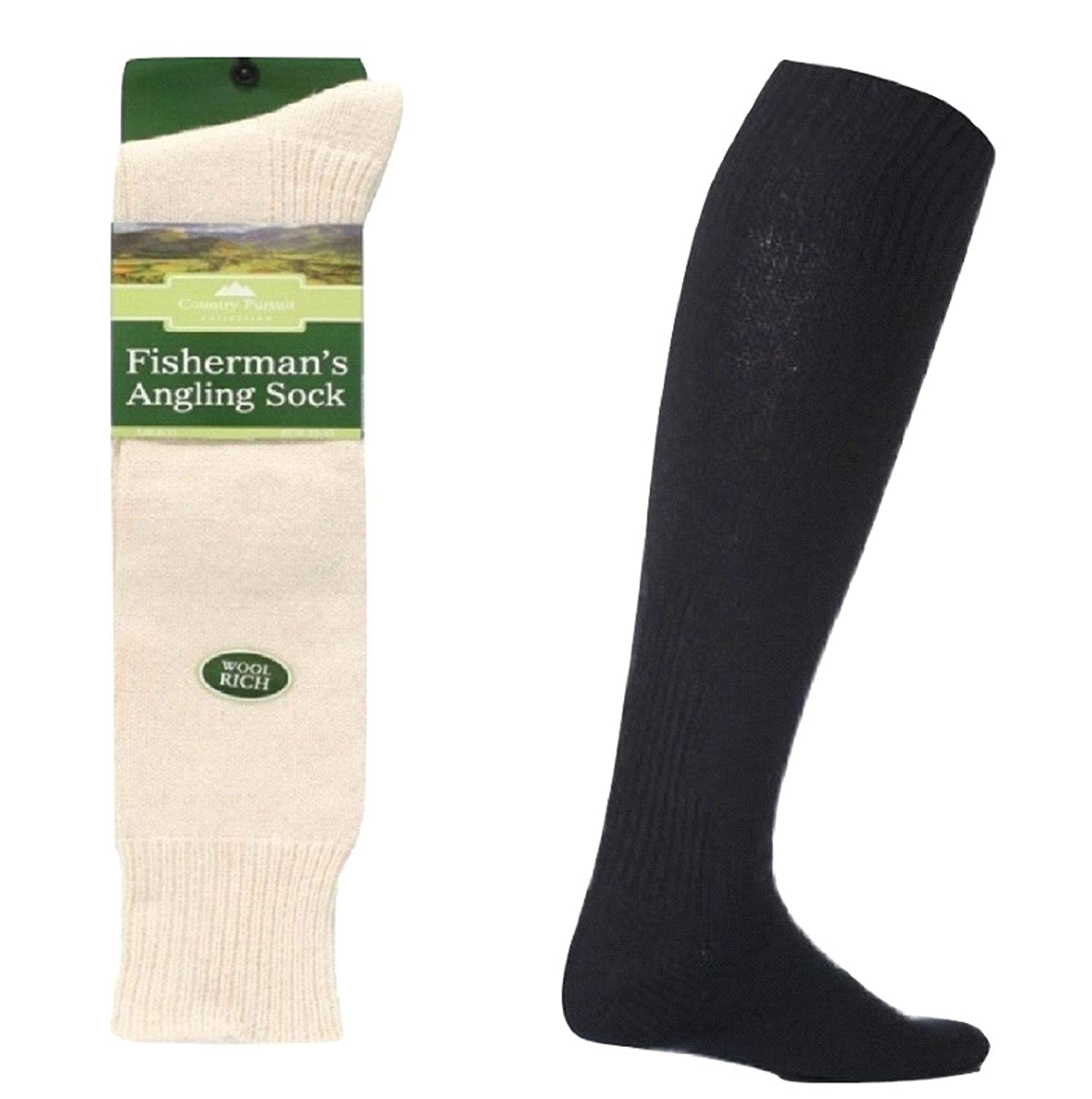 6 Pairs Men's Country Pursuit Wool Rich Fisherman's Long Thermal Angling Socks Size 6-11