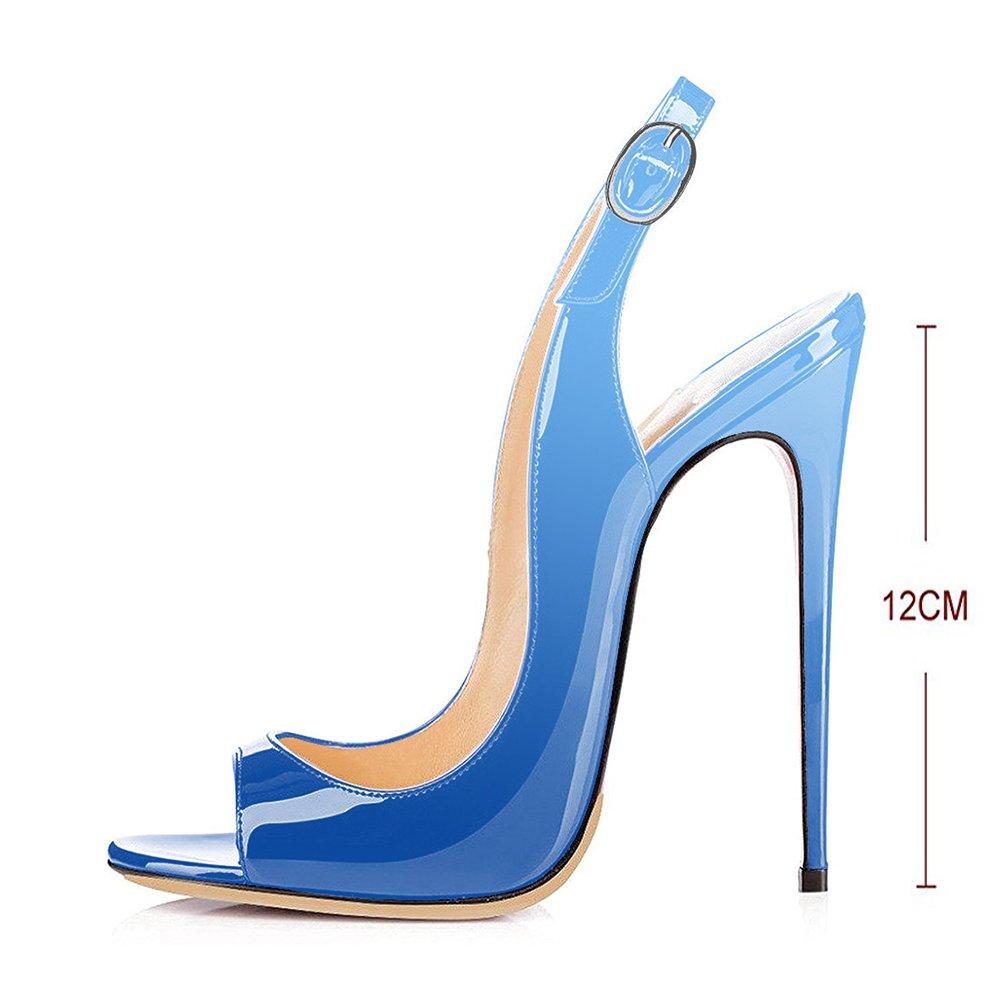 Modemoven Women's Patent Leather Pumps,Peep Toe Heels,Slingback Sandals,Evening Shoes,Cute Stilettos B071NPH7BB 10 B(M) US|Sky Blue