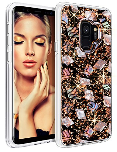 HoneyAKE Galaxy S9 Case with Genuine Shells Cute Girly Glitter High Impact Resistant Drop Protection Transparent Hard PC Back Cover Soft Rubber Bumper Protective Phone Case for Galaxy S9(Rose Gold)