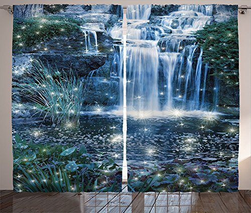 Birch Glass Waterfall (Modern Curtains Home Decor Fairy Fantastic Waterfalls at Night with Sparkling Light Magic on Water Fresh Landscape Living Room Bedroom Curtain 2 Panels Set Grey)