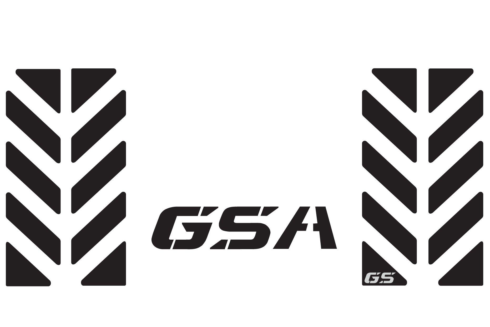 The Pixel Hut gs00018b BMW GS Motorcycle Reflective Decal Kit ''GSA Chevron'' for Touratech Top Case Box - Black