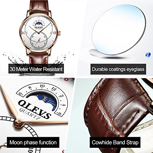Rose Gold Watches for Men,Brown Leather Watch Men Business Casual Wrist Watch,Fashion Japan Quartz Movement Watch with White Face,Men's 30m Waterproof Wrist Watches,Round White Dial by OLEVS (Image #8)