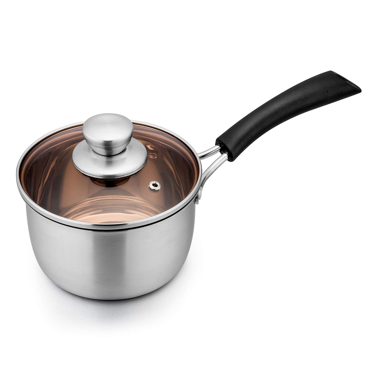 TeamFar 1qt Saucepan, Stainless Steel Sauce Pan with Lid, Milk Pan Cookware Professional with Long Heatproof Handle, Non Toxic & Healthy, Rust Free & Dishwasher Safe by TeamFar