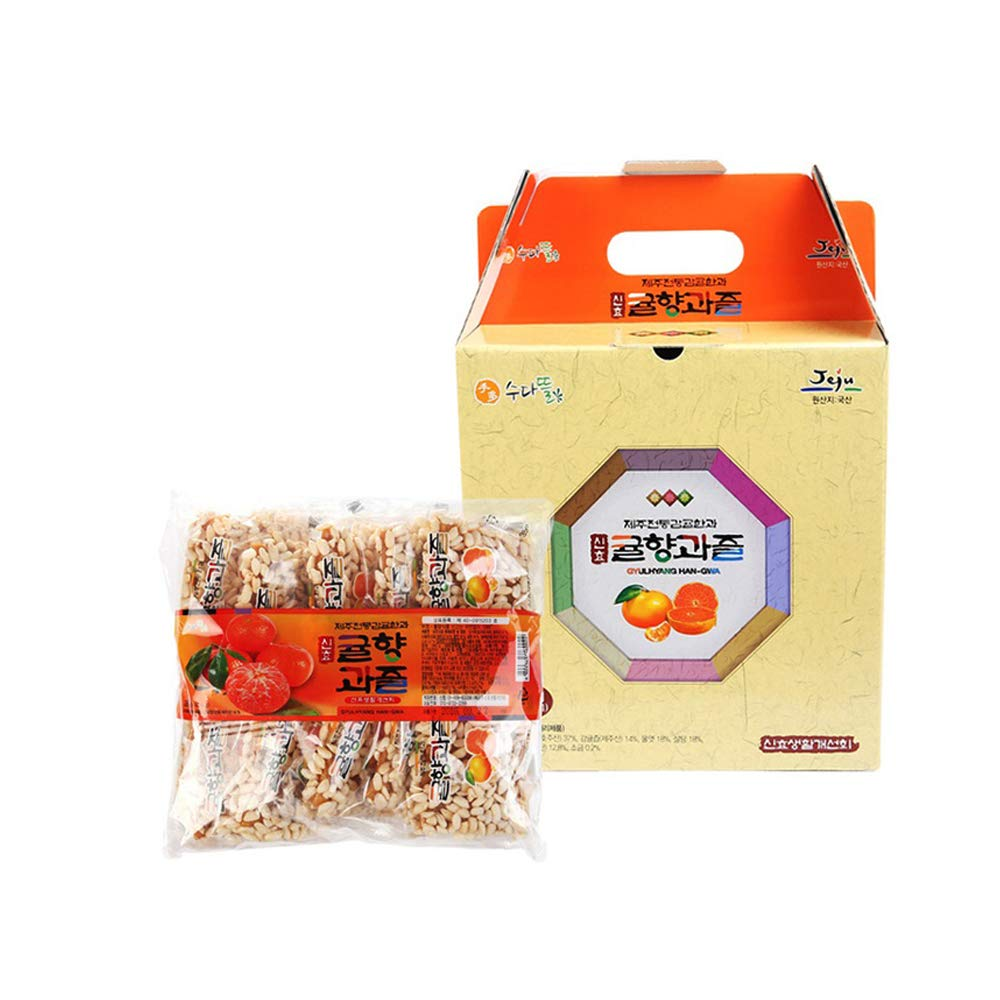 Jeju Tangerine Korean Traditional Sweets and Cookies 50 Pack 1Box