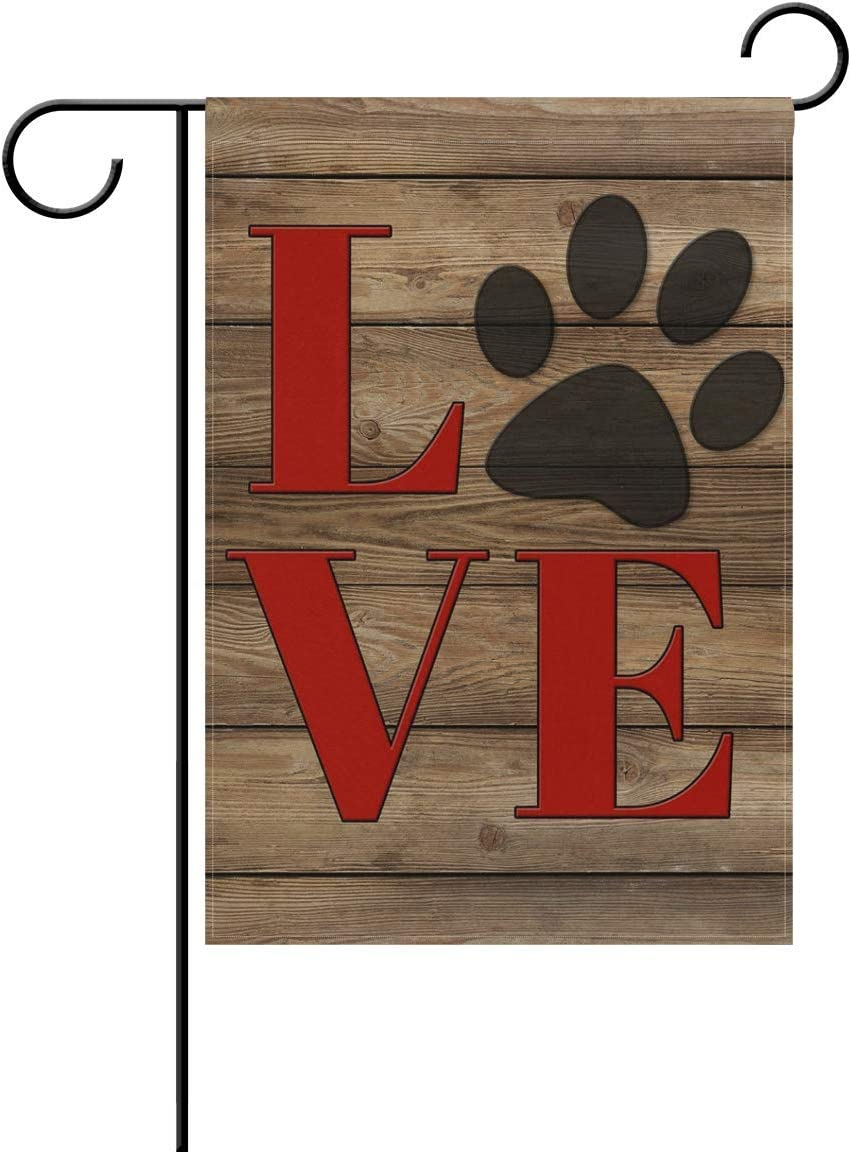 HOOSUNFlagrbfa Unisex Love Dog Paw Print Home Garden Flag Vertical Double Sided Yard Outdoor Decorative