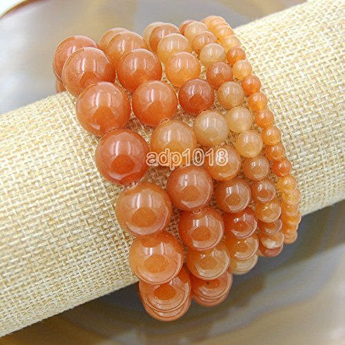 Red Aventurine Gemstone (Wholesale Natural Gemstone Beads Stretch Bracelet Healing Reiki 4,6,8,10,12mm (8mm, Red Aventurine))