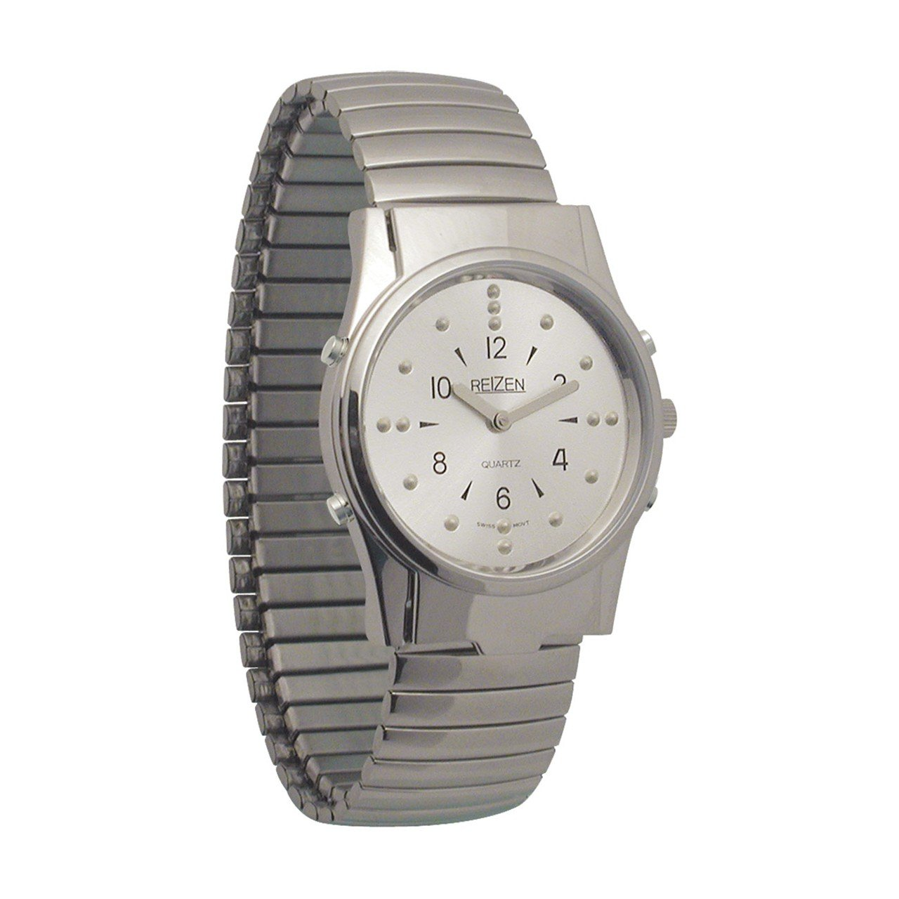 Mens Chrome Braille and Talking Watch - Exp Band by Reizen