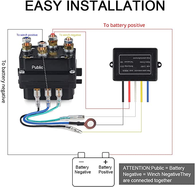 WATERWICH 12V 500A Winch Relay Winch Solenoid Relay Contactor with 6 Protecting caps Universal for ATV UTV 5500-12000lbs Winch